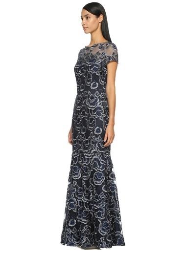 Çiçek Desenli Uzun Abiye Elbise-David Meister